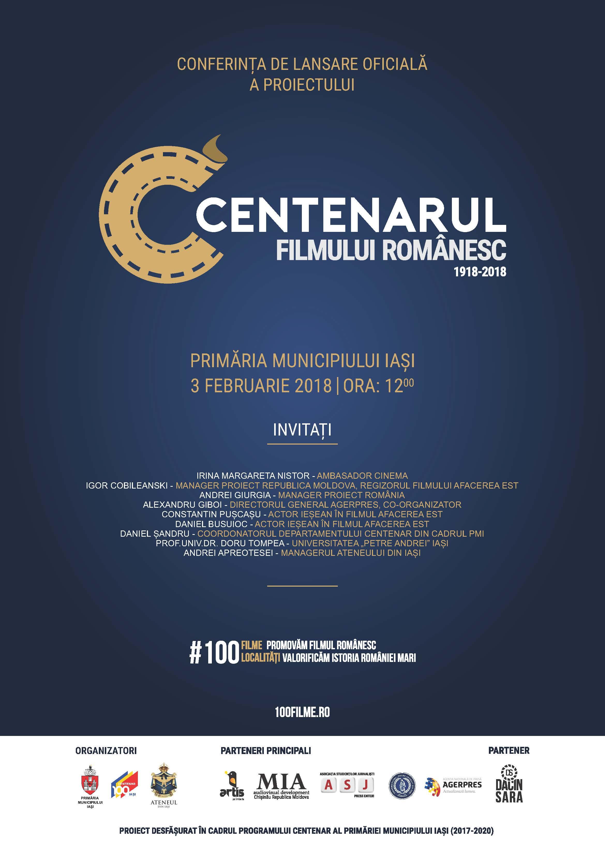 LANSAREA OFICIALĂ A CENTENARULUI FILMULUI ROMÂNESC